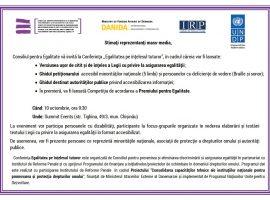 Invitație de presă: Conferința EGALITATEA PE ÎNȚELESUL TUTUROR