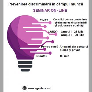 Start înscrieri la seminarul on-line în domeniul prevenirii discriminării în câmpul muncii